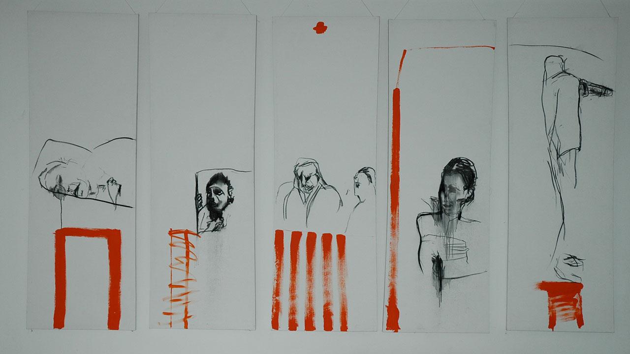 Orange, 5-teilig, je 200cmx70cm, Kohle und Acryl, 2004