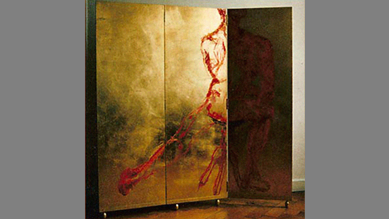 Paravent, dreiteilig, Oelkreide auf Schlagmetall, 1998